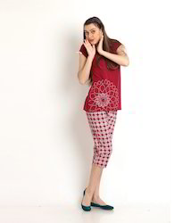 Maroon Cotton Womens Printed Capri