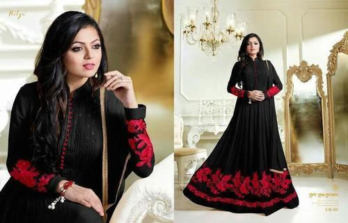 Georgette Embroidered Black Color Anarkali Suit Size Extra Small