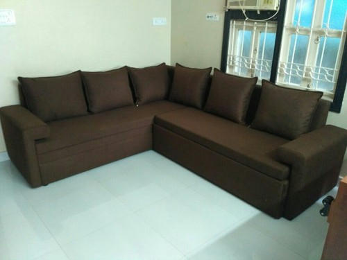 Suede L Shape Sofa