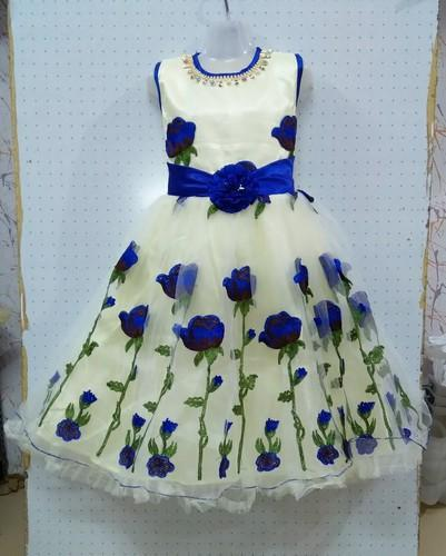 White Base With Blue And Rose Red Embroidery Frock, Size: 22-32