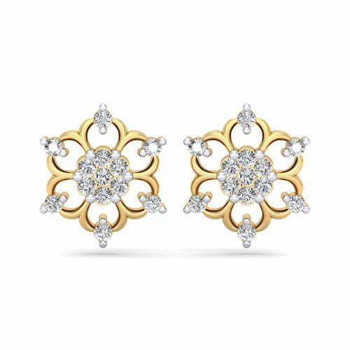 416562a73fd23 Flower Design Diamond Earrings