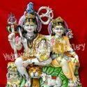 Shiv Parivar White Marble Statue