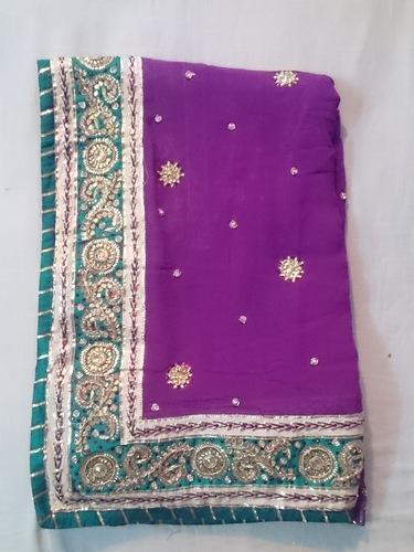 848ae4a787 Pure Georgette Jaipuri Gota Patti Work Saree | ID: 11570653162