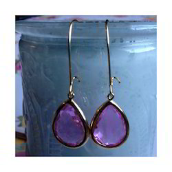Glass Wire Drop Earring