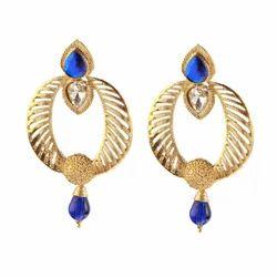 Jewelmaze Party Blue Drop Earrings