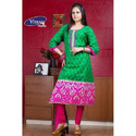 Cotton Unstitched Green And Pink Printed Suit