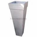 White Vertical Metalica Slim Tall Planter