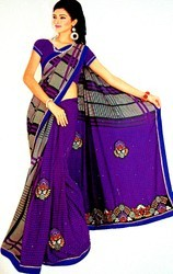 Blue Chiffon Women Saree, With Blouse Piece