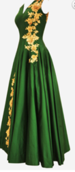 Bottle Green Pleated Gown