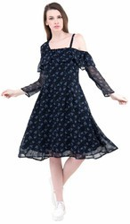 Women Georgette Black Printed Short Dress