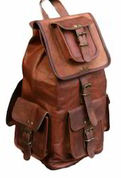 Solid Brown Leather Mens Backpack