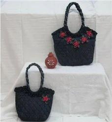 Multicolor Flowery Solid Denim Flower Bags, Size: Regular
