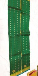 Green Real Zari Gold Handloom Pure Silk Saree, Hand, 6 m (with blouse piece)