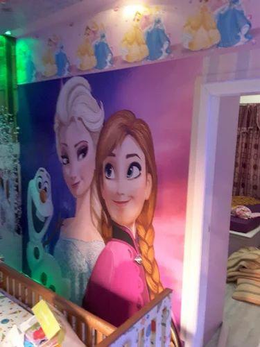 PVC Vertical Anna & Elsa 3D Wallpaper