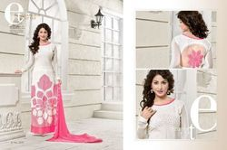 Pink And White Embroidered Designer Dress