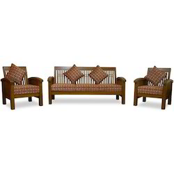 Jayanth Enterprises Brown Teak Wood Sofa Set, For Home
