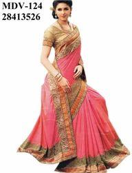 Ethnic Indian Silk Pink Saree