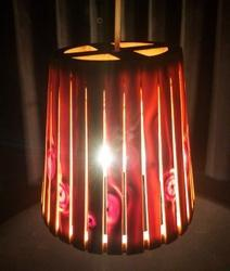 Conical Hanging Wooden Lamp with Slits
