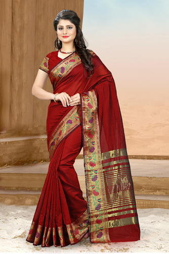 a02d0958b7 Cotton Silk Maroon Coloured Rapier Jacquard Zari Work Party Wear Saree