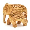 Wood Brown Wooden Jali Elephant Statue, For Home Decor