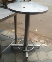 Silver Stainless Steel Hi Rise Table, Size: 24x24x40