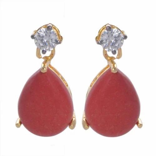 Red Clic Earring Cubic Zirconia
