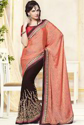 Colored Embroidery Saree