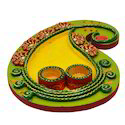Kairi Shape Pooja Thali with Kundan Work
