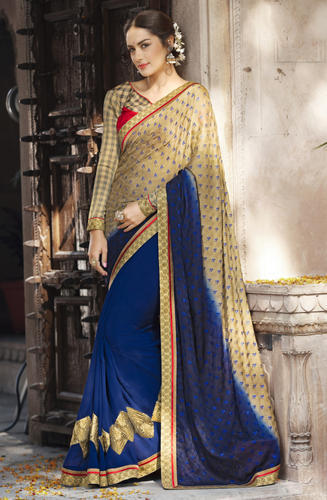bed1628f43 Georgette Jacquard Triveni Blue Border Worked Saree, Rs 1836 /piece ...