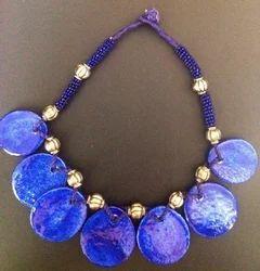 Blue 7 Pendant Pottery Necklace