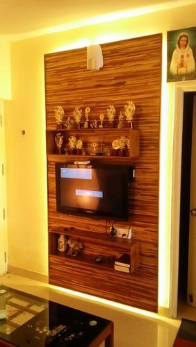 Designer Teak Wood Tv Wall Panel