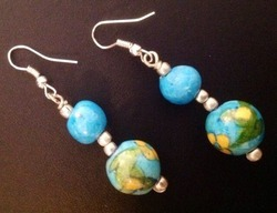 Pottery Two Bead Earring