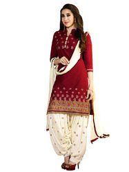 Exclusive Red Cotton Embroidery Dress Material