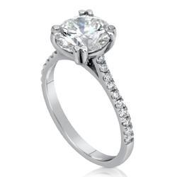 14K White Gold Real Diamond Engagement Ring