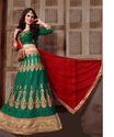 Net Thread Work Green Designer Lehengas