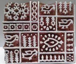 Brown Hardwood Wooden Textile Printing Blocks, Y