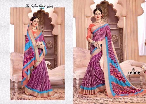 4e97c4d38b5e22 Formal Wear Printed Visnupuri Silk-3 Cotton Jari Border Saree