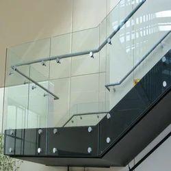 Bar Silver Frameless Glass Railing