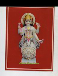 White Painted Marble Kurma Avatar Statue, Indoor, Size: Min.12 Inch