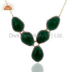 Green Gemstone Designer Necklace Jewelry