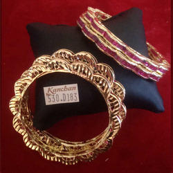 Gold Plated Red Stone Bangle
