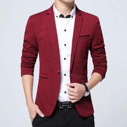 Free Red Slim Fit Suit Coat Jacket Outerwear