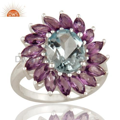 Gemstone Silver Rings Amethyst Blue Topaz Gemstone