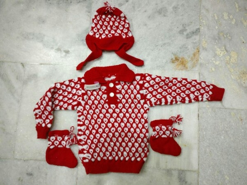 452f9eb6de6e Baby Boys Red And White Niayamat Hand Knitted Kids Sweater