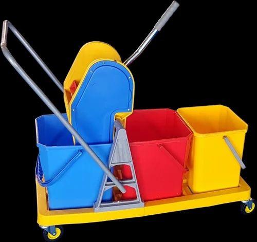 Mopping Trolley Triple Bucket Mop Wringer Trolley