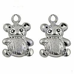 Teddy Bear Shaped Plain Silver Earrings