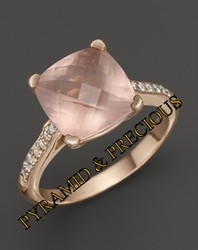 Rose Quartz With Cz Stone Silver Ring