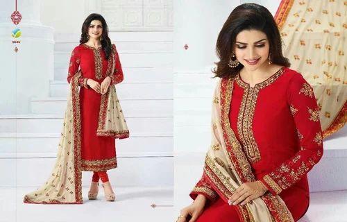 8bbc36c604 Red And Cream Chiffon Vinay Prachi Suit, Rs 2400 /piece, Hakeem ...