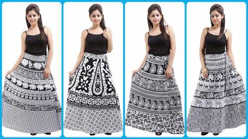 387829c313 White & Black Wrap Around Cotton Printed Skirt, Size: S, M & L, Rs ...