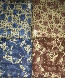 Green Brown Dabu Printed Fabric, GSM: 100-150
